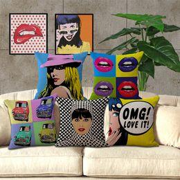 couverture pop art Promotion Taie d'oreiller décorative en lin coton carré couvre taie d'oreiller Anime canapé américain pop art canapé taie d'oreiller en coton voitures taie d'oreiller doux