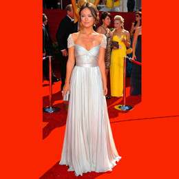 Wholesale Olivia Wilde Dresses - New 2016 Cap Sleeve Ivory Chiffon Olivia Wilde Reem Acra Celebrity Evening Dress Formal Gowns Evening Gowns Free Shipping