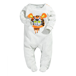 Wholesale Christmas Sleepwear - Tiger Baby Boys Rompers Long Sleeve Pajamas Body Suits Babywear Sleepwear Sleep sack Grey bebe ropa