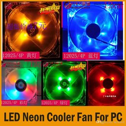 Wholesale Led Computer Case Fans - 2015 New Arrival Computer PC Case Colorful Neon LED Fans Cooler Fan 120*120*25mm 12VDC 4P Cooling Cooler Fan