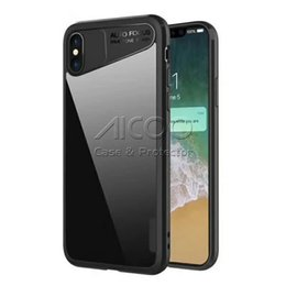 Wholesale Bumper Frame Case - Hybrid Ultra Thin Soft TPU Bumper colorful Frame PC Acrylic Back Cover Transparent Shockproof Protective Case For iPhone X Opp Bag