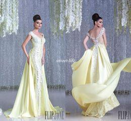 Wholesale Grape Designs - New Design Hanna Toumajean Lace Evening Dresses Over Skirts Backless V Neck Cap Sleeve Appliqued 2016 Arabic Prom Gowns Long Celebrity Dress