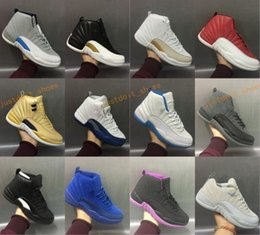 Wholesale Sneakers Wool - High Quality Retro 12 OVO Gym Red Wool Taxi Basketball Shoes Men Women 12s Flu Game Black Nylon PSNY Sneakers With Shoes Box