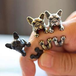 Wholesale Vintage Animal Gold Ring - Fashion Pug Dog Doggy Ring Pet Retro Animal Vintage Wrap Adjustable Ring