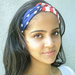 Wholesale Headband Nylon Women - American Flag Pattern Stars and Stripes Turban Headband for Yoga Women Wholesale