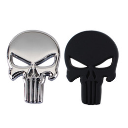 Wholesale Car Skull Emblems - 2017 Punk 3D Skull Car Front Sides Rear Decorations metal Badge Emblem for Univesal Car Silver 10pcs Lot Free shipping