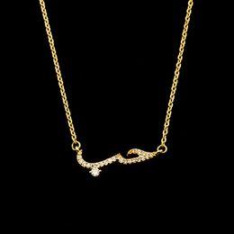 Wholesale Wedding Crystal Choker - Wholesale 10Pcs lot 2017 New Promotion Handmade Custom Arabic Jewelry Pendant Crystal CZ Arabic Love Gold Chains Choker Necklaces For Women