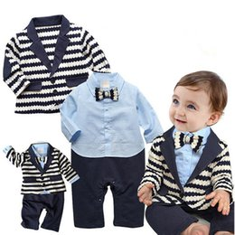 Wholesale Handsome Boys Photos - Handsome infant outfit long sleeve jacket+ romper kids natural clothes wedding family photo stripe toddler boy gentleman suit