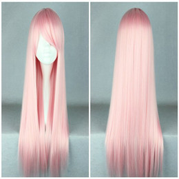 Wholesale Cosplay Wigs Lolita - High Quality Synthetic Hair Cosplay Wig Light Pink Beauty 70cm Long Straight Lolita Wig ePaket Free Shipping
