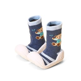 Wholesale Anti Skid Pvc - Wholesale- Kids Cute First Walker With Soft Socks Anti Skid Toddler Bear Prints Slip On Indoor Baby Girls Boys Shoes Flat Shoe 2017 Spring