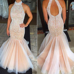 Wholesale Nude Evening Gown - Mermaid Prom Dresses 2016 Pearls High Neck Cut Out Back Nude Floor Length Crystal Evening Gowns Vestidos de Fiesta