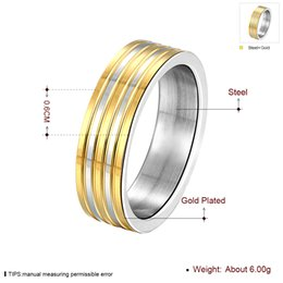 Wholesale 14k Yellow Gold Wedding Bands - 2016 Quality Men's 18K Yellow Gold White Gold Plated Steel Rings Brand Wedding Rings Golden Stripe Rings fashion Silver jewelry Size8 9