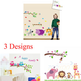 Wholesale Lion Wall Decals - 100pcs Cartoon owl monkey elephant lion zoo animal Kids room decor home decal AY6013 ZY869 ZY9046 wall stickers art baby decor wallpaper