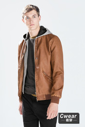 Wholesale Mens Grey Leather Jacket - Fall-ZA 2015 Fashion Winter Men New Coats Camel Brown Grey 3 Colors Hoodie Leather Jacket Mens Casual Outerwear School Clothings