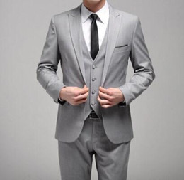 Wholesale Dark Red Vest Wedding Suit - Wholesale-High Quality One Button Light Grey Groom Tuxedos Groomsmen Mens Wedding Suits Prom Bridegroom (Jacket+Pants+Vest+Tie) NO:892