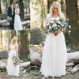 Wholesale Forest Weddings - 2018 Western Country Bohemian Forest Wedding Dresses Beach Lace Chiffon Modest V Neck Half Sleeves Bridal Gowns Plus Size Dress for Wedding