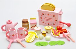Wholesale Mother Garden Wooden Kitchen - 2016 Mother Garden Children'S Wood Playhouse Kids Game Toy Toast Bread Toaster Wooden Kitchen Toys Set Free DHL E605E