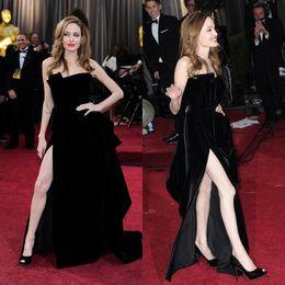Wholesale Evening Dresses Angelina Jolie - Angelina Jolie Tiered Red Carpet Dress Sexy Black Vestidos Celebrity Gown Side Split Evening Party Dress 2016