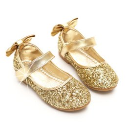 Wholesale Dancing Cow - Children ballet dance shoes glitter felt girls sequins Bows flat princess single shoes fashion new kids comfortable casual shoes R1328