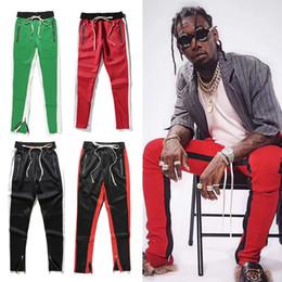 Wholesale Men Red Trousers - US size 2017 NEW zipper pants high street fashion panelled long pants hip hop justin bibber track pants SPORT trousers black red blue green