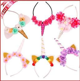 Wholesale Christmas Hair Accessories Headband - Mix 20 Colors Christmas Baby Unicorn Headbands kids cosplay fabric flowers Party Hairwear Children Birthday Party Flower Hair Accessories