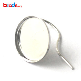 Wholesale Earring Tray Diy - 2016 New style Silver earring hook French earrings women round cabochon blanks tray wholesale earrings jewelry settings sterling silver DIY
