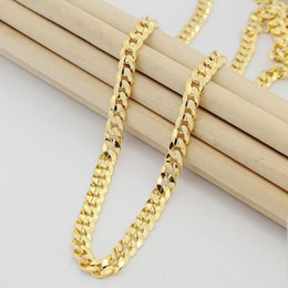 Wholesale 24k Solid Yellow Gold Necklace - Fast Free Shipping Fine 20inches 20g 24K Solid Yellow Gold Filled Plated Mens Link Necklace Chain never fade
