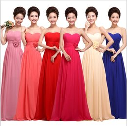Wholesale Cheap Pageant Dresses Chiffon Style - Red Bridesmaid Dresses Fashion Sweetheart Empire Chiffon Floor length Beach Style Cheap Long Prom Party pageant Dress