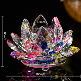 Wholesale Glass Souvenirs - 100mm K9 Crystal Lotus Flower Crafts Feng Shui Ornaments Figurines Glass Paperweight Party Gifts Wedding Decoration Souvenirs