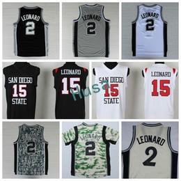 Wholesale 3xl basketball jersey - 2017 Hot 2 Kawhi Leonard Jersey San Diego State 15 Leonard College Shirts Uniforms Fashion Christmas Home Black Gray White Size S-3XL