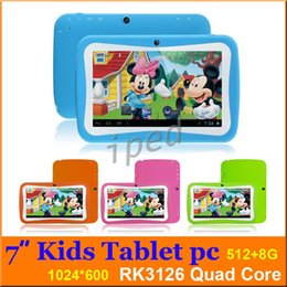 Wholesale Tablets For Kids Wifi - Kid Educational Tablet PC 7 Inch Screen IPS 1024*600px screen RK3126 Quad core Android 5.1 512MB 8GB WIFI Dual camera gift for kids 30pcs