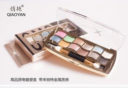 Wholesale Product Lists - QiaoYan authentic cosmetics wholesale Korea diamond eye shadow cosmetics products listed 12 color eye shadow plate fast dhl
