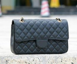 Wholesale Double Flap - Top quality CF 25CM Double Flap Bag Black Genuine Caviar Leather Quilted chain Bag with Gold Silver Hardware Women's Messenger Bag Handbag
