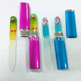 Wholesale Glass Files - Wholesale-Free shipping New Crystal Glass Nail File Durable Colorful Files Manicure Device Tools + Case