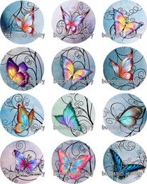 Wholesale Butterfly Music - Free shipping butterfly glass Snap button Jewelry Charm Popper for Snap Jewelry good quality 12pcs   lot Gl346 jewelry making DIY