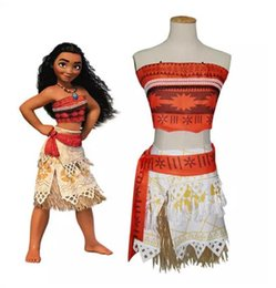 Wholesale Girls Dancewear Sets - MOANA Girls dress Clothes Childrens Cosplay Clothing Sets Tops Skirts Belts Set Special Stage Wear Costumes Dancewear party