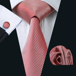 Wholesale men striped neckties - New Striped Jacquard Woven Tie for Men Silk Red White Stripes Pattern Necktie Wedding Business Ties Fashion Accessories N-1083