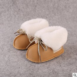 Wholesale Green Baby Shoes Boy - Baby shoes Newborn PU leather snow boots babies lace-up bows soft bottom outdoor shoes fit 0-2T Baby first walking winter boots T5123