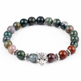 Wholesale Wholesale Leopard Rings - Buddha Beads Charms Bracelets Colorful Lava Natural Stone Leopard Head Charm Bracelets Prayer Beads Handmade Diffuser Men's Women's Jewelry