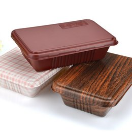 Wholesale Wholesale Disposable Cake Containers - 800Ml Disposable Lunch Box Thicken Plastic Food Container Square Sushi Wood Take Away Containers Cake Boxes Disposable Supplies Mixed Color