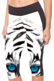 Wholesale Women Slim Legs - Yoga Capri Pants Women Bottom Cropped Exercise Breathable Short Legging Slim Run Training Trousers Fashion Tight Blue Eyes Tiger LN7Slgs