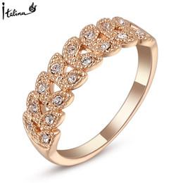 Wholesale Genuine Crystal Rings - Real Italina Rings for women Genuine Austrian Crystal 18K Rose Gold Plated Vintage Rings New Sale Hot#RG95683Rose