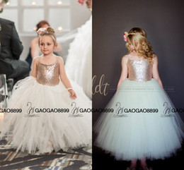 Wholesale Cheap Sequin Little Girl Dresses - So Cute Sparkly Rose Gold Sequins Puffy Little Princess Flower Girls' Dresses Beautiful Tutu Gown Custom Make Cheap Little Girl Formal Dress