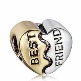 Wholesale Sterling Silver Best Charms - New96 Best Friend Heart Shape Charm 925 Sterling Silver European Charms Bead Fit Pandora Snake Chain Bracelets DIY Jewelry