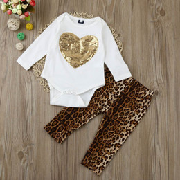 Wholesale Girls Leopard Pants - Retail Ins Autumn baby Girl boy clothing sets Sequins Love Heart romper+Leopard Pants outfits set Infant Clothing 0-2Y SH023