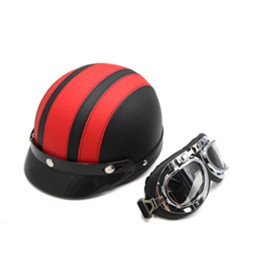 Wholesale Pink Motorbikes - Half Face Motorbike Helmet Leather Stripe Cotton with Goggles Fashion Motorcycle Electric Bicycles Crash Helmet Men and Women Large