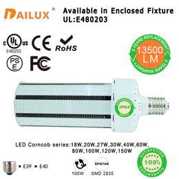 Wholesale Environmental Led - SMD2835 100w LED Corn Bulbs 18W 27W 40W 80W 120W E27 E40 Parking Lot Lighting Street Environmental Protection Lamp (Self Cooling Device)