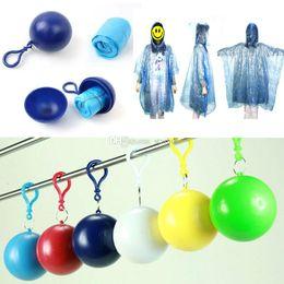 Wholesale Person Ball - Spherical Raincoat Plastic Ball Key Chain Disposable Portable Raincoats Rain Covers Travel Tour Trip Rain Coat WX-H16