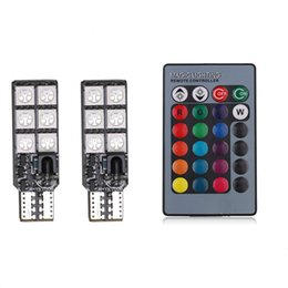 Wholesale Reading Flash Light - New PCB T10 5050 12 SMD car clearance bulb RGB remote control indicator explosion flash atmosphere lamp DC12V
