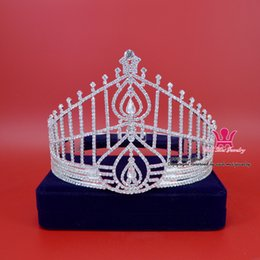 Wholesale Silver Queen Crown - Rhinestone Crown Tiara Miss Hong Kong Beauty Pageant Queen Crown Bridal Wedding Princess Party Prom Night Clup Show Crystal Headband Mo090